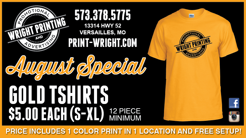 August Special – Gold Tshirts & Back to School Sale!
