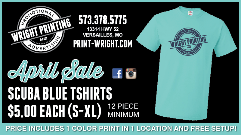 April Specials – Scuba Blue Tshirts and Coozies