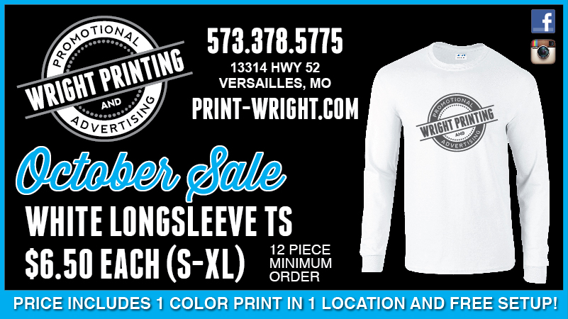 October Specials – Long Sleeve Tshirts and Pens
