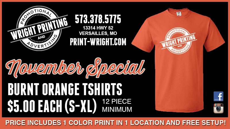 November Special – Burnt Orange and Holiday Hours & Cut Off Dates