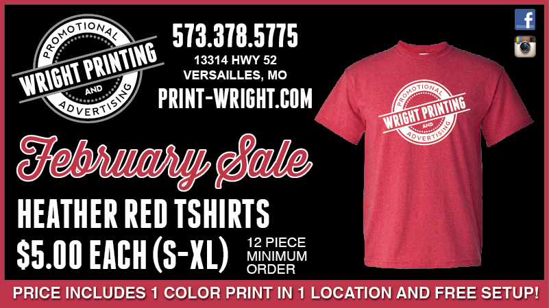 February Specials – Save on Heather Red Tshirts and Free Digitizing on New Embroidery Orders